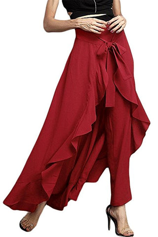 Faux Wrap Ruffle Accent Palazzo Pants-GoGetGlam