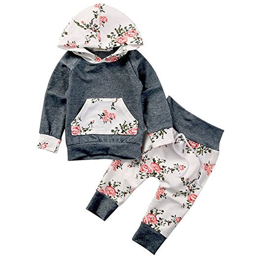 Baby Girls Boho Floral Hoodie Top & Pants Set - Boho Bohemian Decor