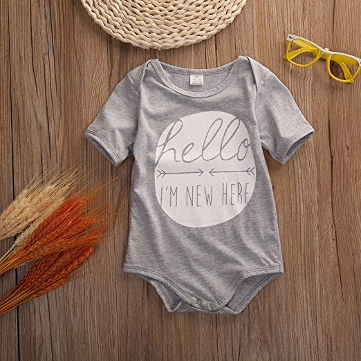 Baby Infant I'm New Here Grey Romper