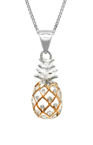 Sterling Silver 14K Rose Gold Pineapple Necklace-GoGetGlam