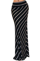Dacie Black White Striped Long Maxi Skirt - GoGetGlam Boho Style