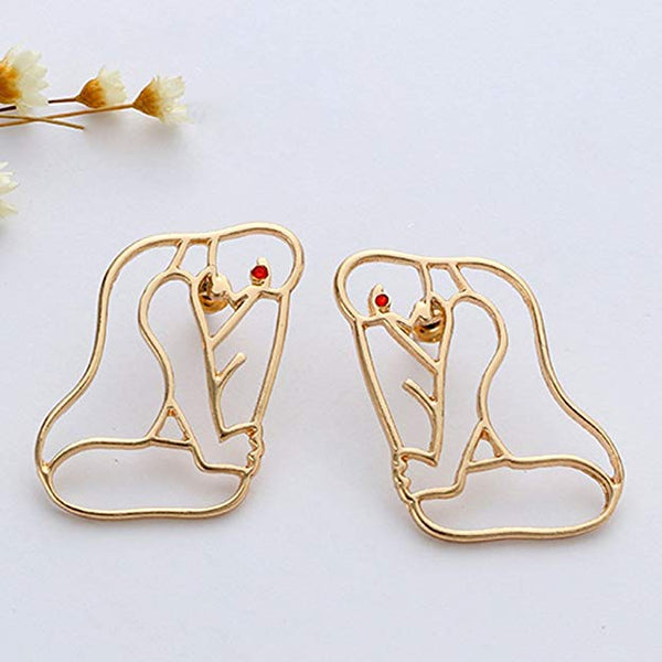 Gold Abstract Art Body At Rest Earrings - GoGetGlam Boho Style