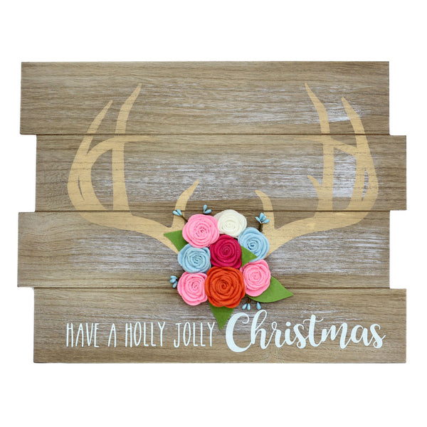 Antlers and Flowers Boho Christmas Wall Sign-GoGetGlam