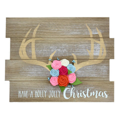 Antlers and Flowers Boho Christmas Wall Sign - GoGetGlam Boho Style