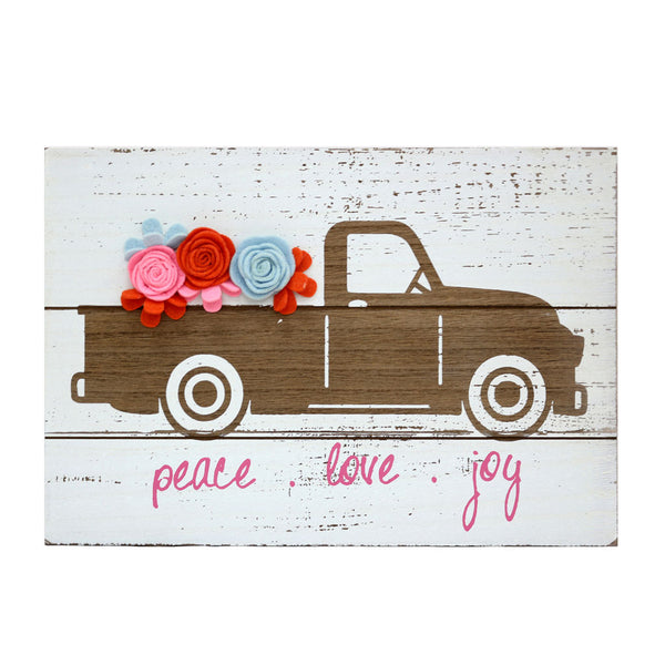 Peace, Love and Joy Truck Christmas Wall Sign-GoGetGlam