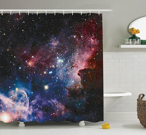 In Your Orbit Galaxy Sky Fabric Shower Curtain - GoGetGlam Boho Style