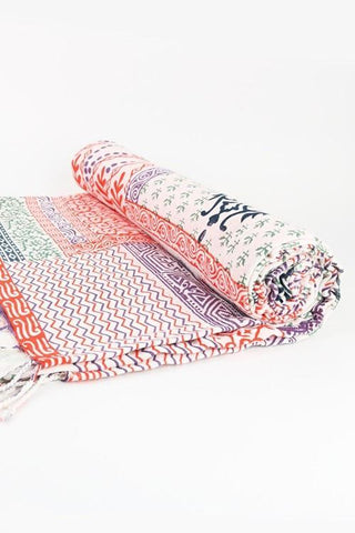 India Artisan Coral Boho Beach Blanket Tapestry Throw-GoGetGlam
