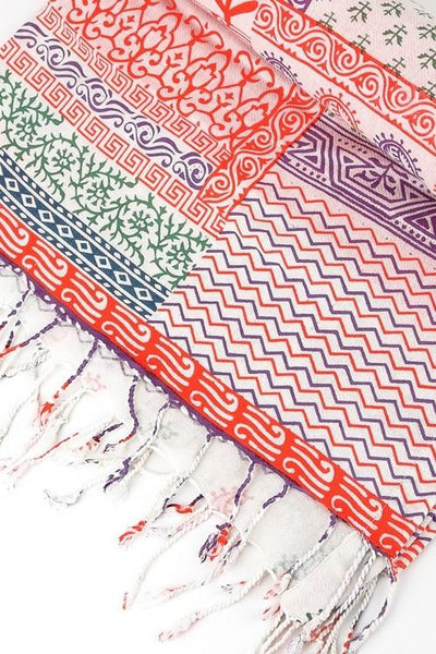 India Artisan Coral Boho Beach Blanket Tapestry Throw - Boho Bohemian Decor
