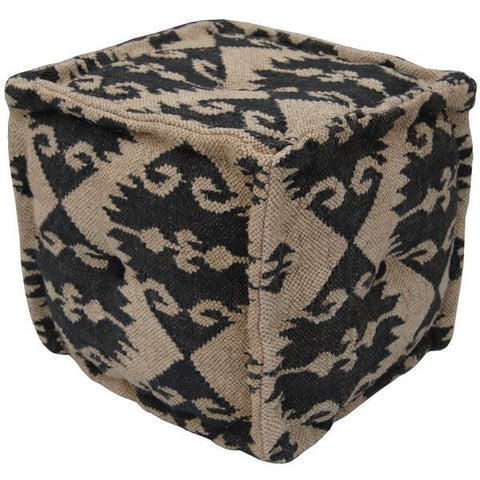India Artisan Hand Crafted Wool Jute Pouf Footstool-GoGetGlam
