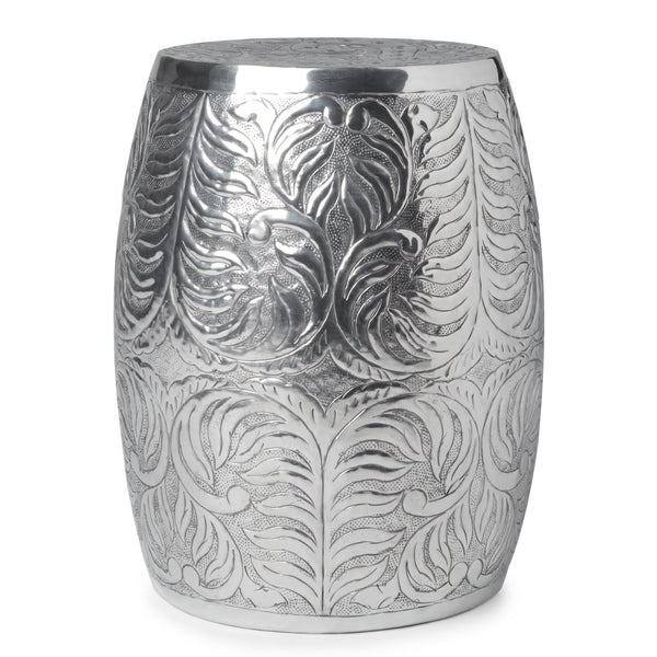 India Artisan Polished Silver Drum Side Table - Boho Bohemian Decor
