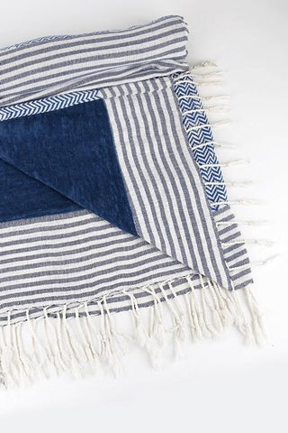 India Artisan Striped Beach Blanket Tapestry Throw-GoGetGlam