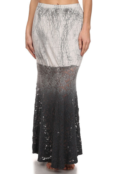 Izabella Gray Tie Dye Ombre Lace Mermaid Maxi Skirt-GoGetGlam