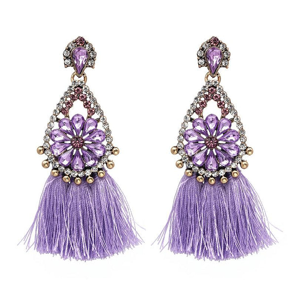 Janika Orchid Tassel Crystal Boho Earrings-GoGetGlam