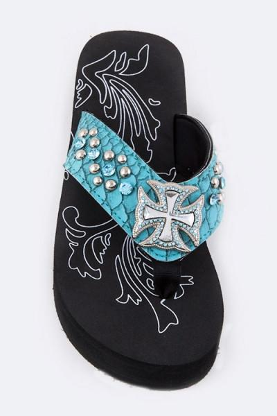 Jessie Crystal Cross Teal Flip Flops Sandals-GoGetGlam