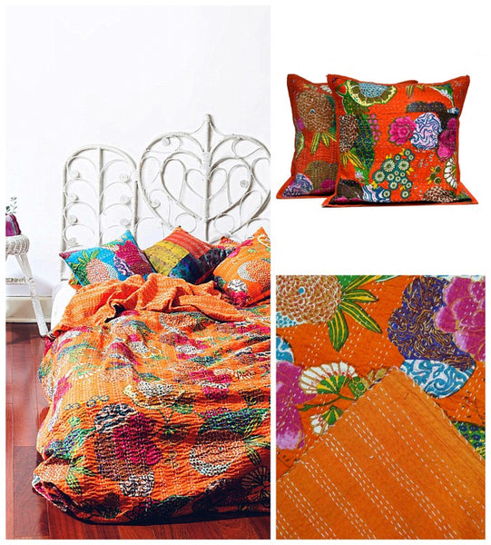 India Artisan Bohemian Fire Orange Kantha Quilt Throw - Boho Bohemian Decor