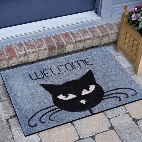 Kitty Whiskers Non-slip Coir Doormat - GoGetGlam Boho Style