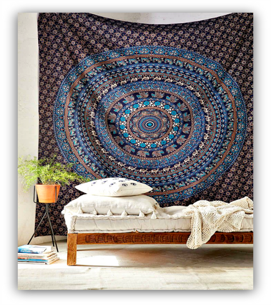Large Hippie Tapestry Mandala Bohemian Elephant Bedspread Throw-GoGetGlam