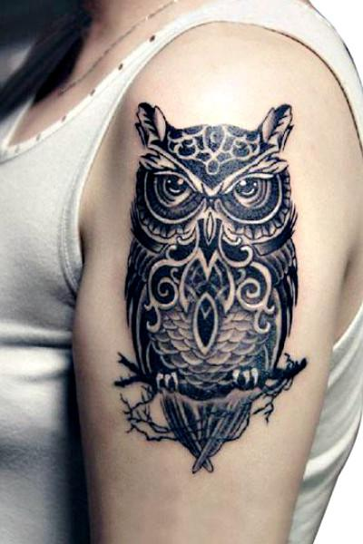 Large Realistic Black OWL Temporary Tattoo Body Art-GoGetGlam