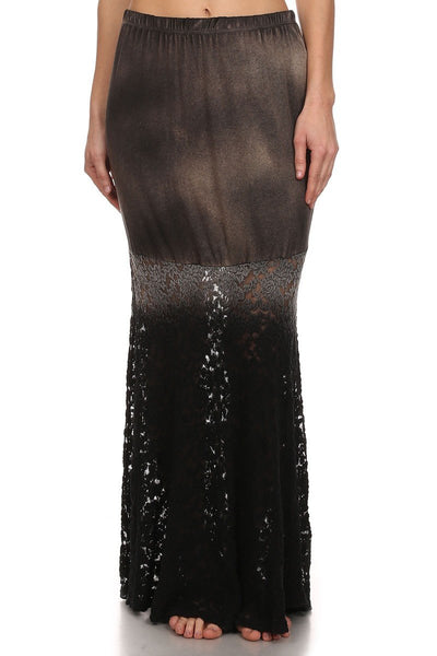 Layla Brown Tie Dye Ombre Lace Mermaid Maxi Skirt-GoGetGlam