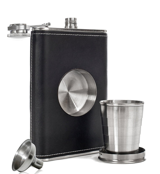 Leather Hip Flask with Built-in Collapsible Shot Glass & Flask Funnel-GoGetGlam