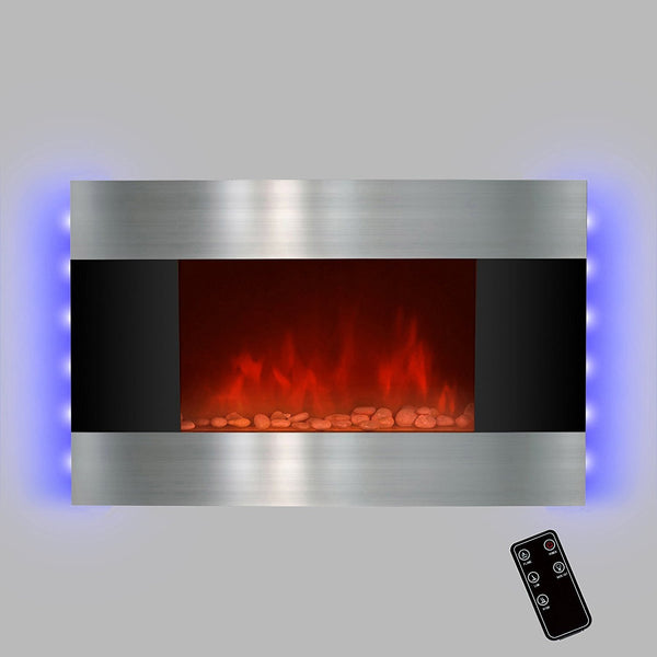 "LED Backlit 36"" Stainless Steel Wall Mount Heater Fireplace - Boho Bohemian Decor"