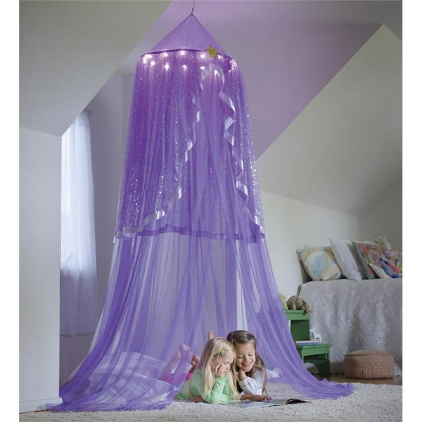 LED Light Up Purple Princess Canopy - Boho Bohemian Decor