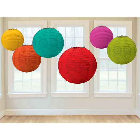 Lot of 6 - Boho Party Home Decor Color Mix Paper Lanterns - GoGetGlam Boho Style