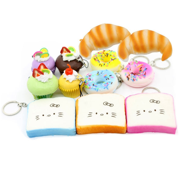 Lot of Squishy Food Korean Squeeze Toy Keychain Cell Charms - GoGetGlam Boho Style