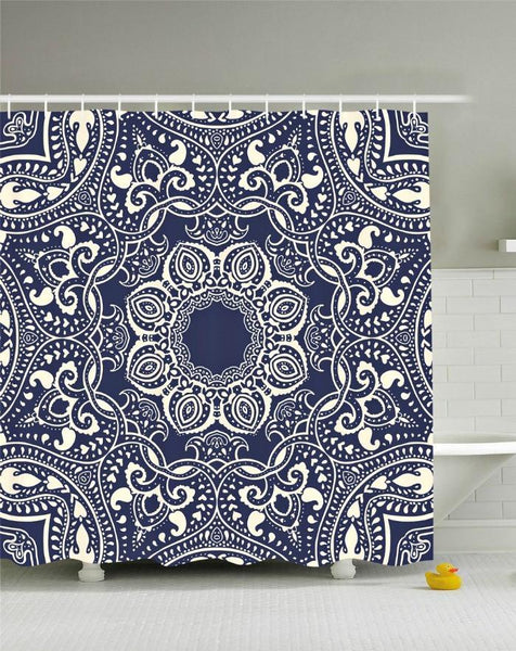 Lotus Flower Mandala Boho Navy Fabric Shower Curtain - GoGetGlam Boho Style