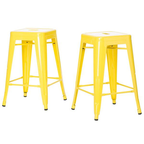 Lovin Lemon Yellow 24 inch Gloss Bar Stools - Set of 2 - GoGetGlam Boho Style