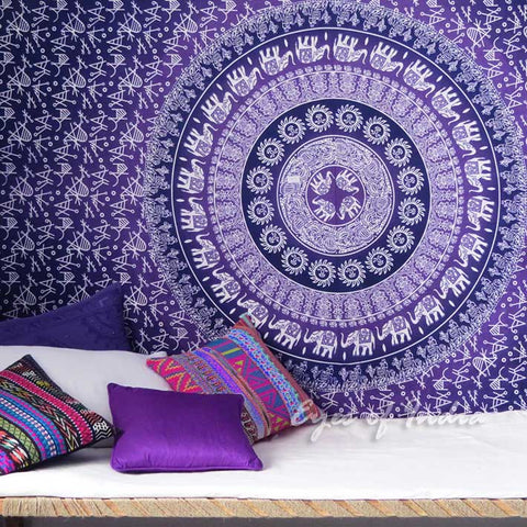 Bohemian Boho Purple Wall Hanging Bed Beach Tapestry-GoGetGlam