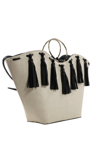 The Delilah Tassel Fringe Straw Handbag