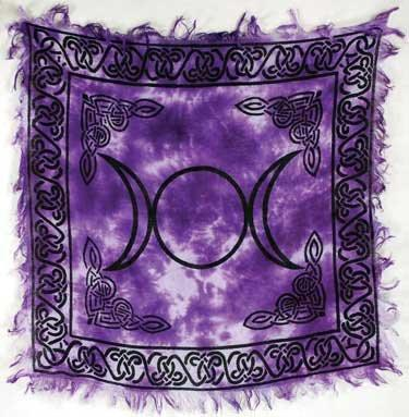 Magic Goddess Wicca Triple Moon Purple Tie Dye Altar Cloth-GoGetGlam