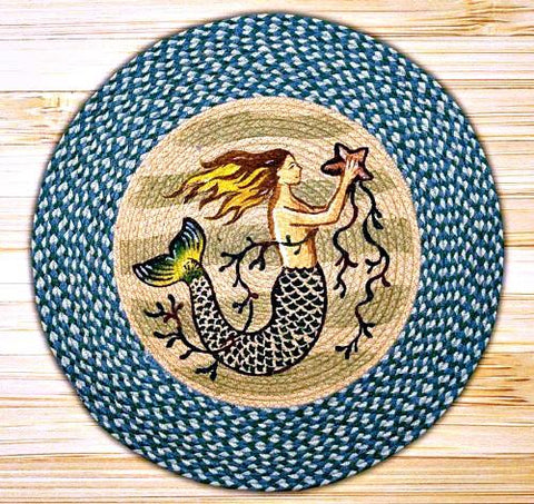Magical Mermaid Round Braided Teal Rug - GoGetGlam Boho Style