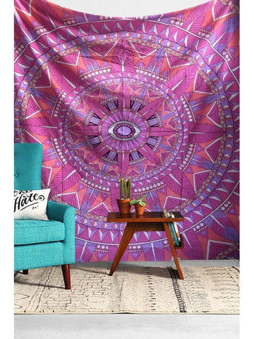 Magical Pink God's Eye Psychedelic Hippie Hippy Wall Hanging Throw Tapestry - GoGetGlam Boho Style