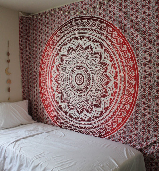 Magical Thinking Large Hippie Tapestry Mandala Red Ombre Bohemian Bedspread Throw-GoGetGlam