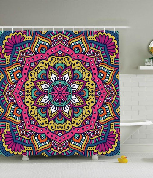 Mandala Madness Boho Fabric Shower Curtain - GoGetGlam Boho Style