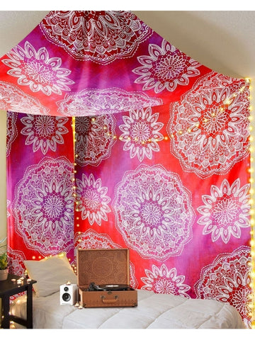 Mandala Madness Pink Red Ombre Boho Tapestry-GoGetGlam