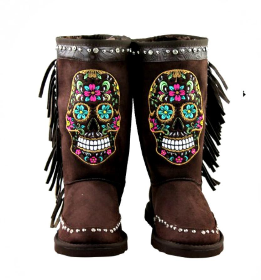 Mardi Gras Rhinestone Sugar Skull Collection Shearling Dark Brown Tall Boots-GoGetGlam