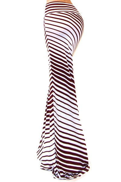 Bria Maroon Striped Long Maxi Skirt-GoGetGlam