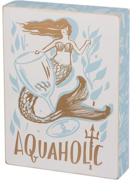 Mermaid Aquaholic Wooden Box Sign – GoGetGlam