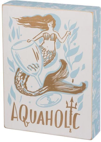 Mermaid Aquaholic Wooden Box Sign - Boho Bohemian Decor