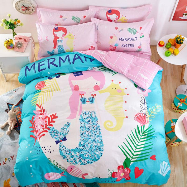 Mermaid Wishes Kids Pink Duvet 4PC Bedding Set-GoGetGlam