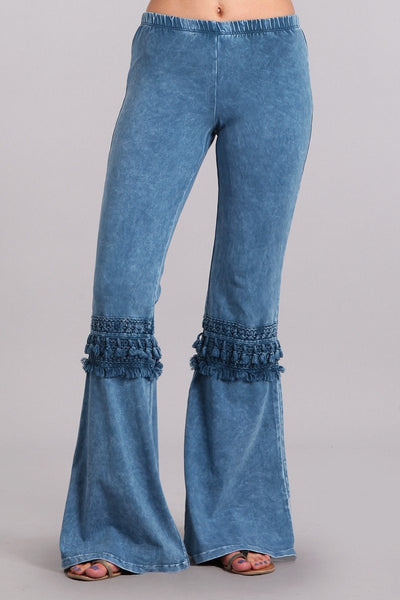 Mia Boho Blue Bell Bottom Pants-GoGetGlam