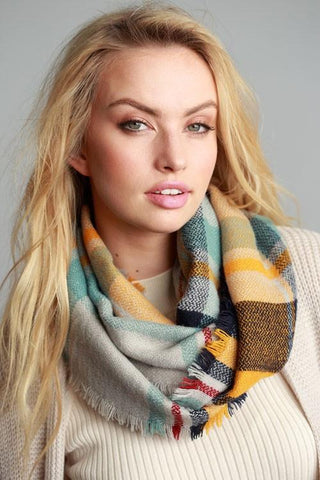 Mindy Mustard Mix Plaid Frayed Edge Infinity Scarf-GoGetGlam