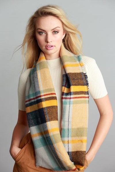 Mindy Mustard Mix Plaid Frayed Edge Infinity Scarf - GoGetGlam Boho Style