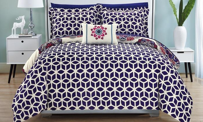 Mirabella 8PC Boho Reversible Sheet Comforter Bed SET-GoGetGlam