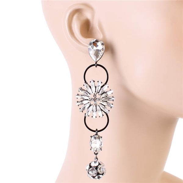 Miranda Multi Tier Crystal Statement Earrings-GoGetGlam
