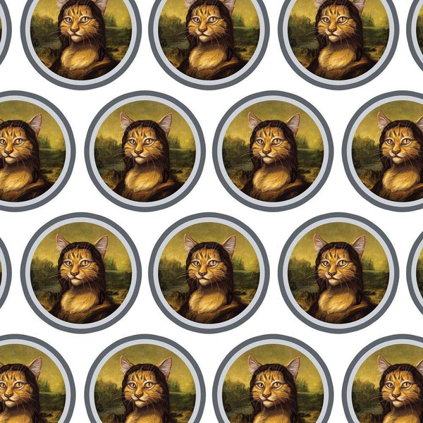 Mona Meow Lisa Funny Gift Wrapping Paper-GoGetGlam