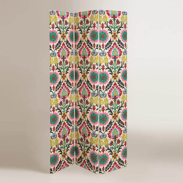 Moroccan Boho Medallion Upholstered Room Divider Screen-GoGetGlam